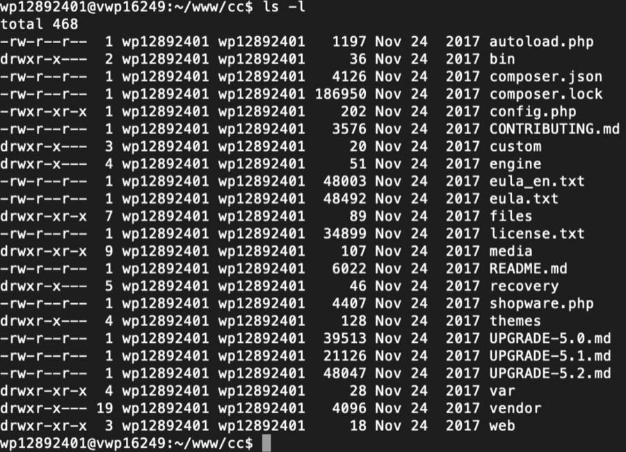 Shopware Backup - SSH Zugriff - Dateiübersicht