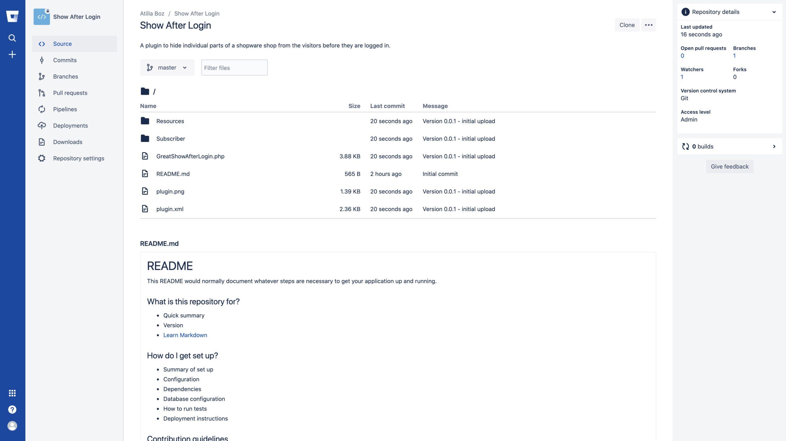 Shopware und Git - Hochgeladene Dateien auf github