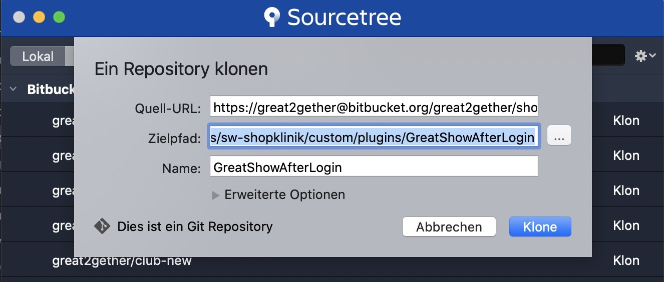 Shopware und Git - Klonen Button