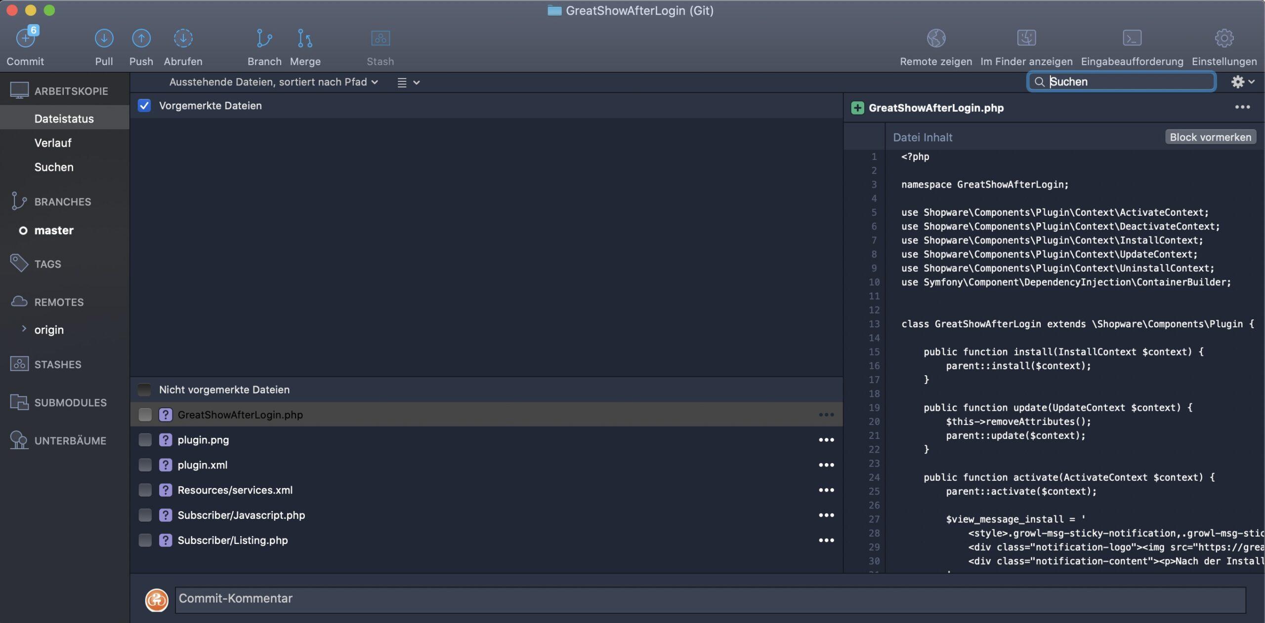 Shopware und Git - Neue Dateien