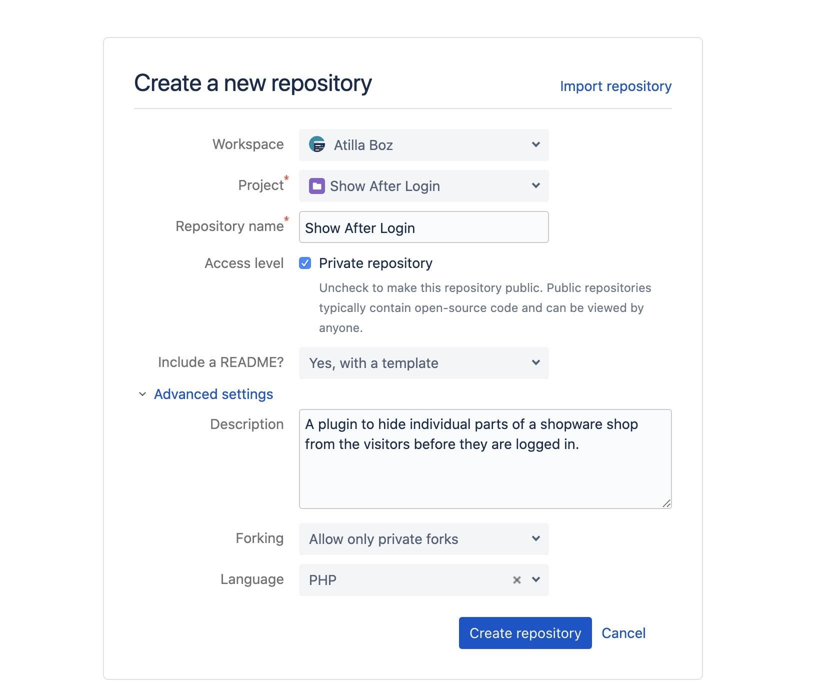 Shopware und Git - Repository anlegen - Einstellungen