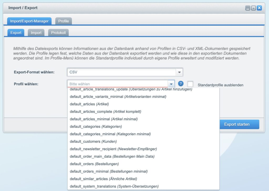Shopware 5 - Kunden exportieren - Export-Profil Liste