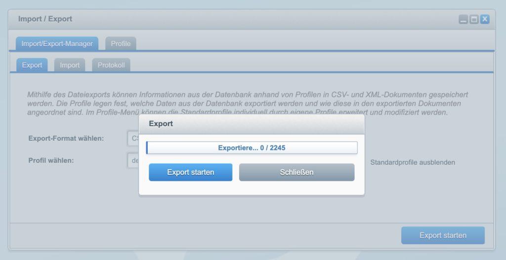 Shopware 5 - Kunden exportieren - Export-Vorschau