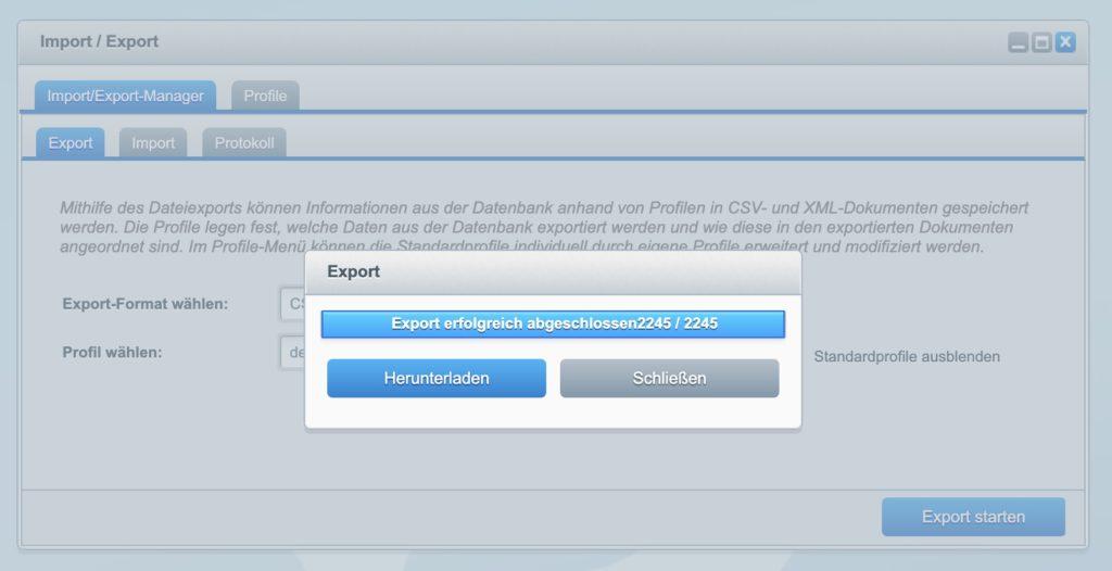 Shopware 5 - Kunden exportieren - Export Download