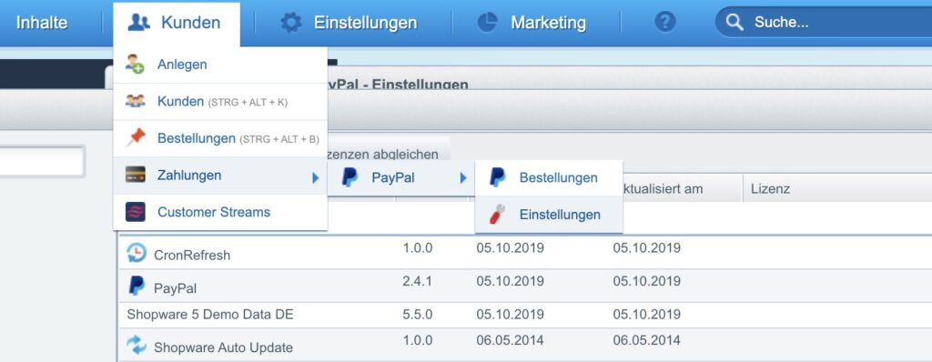 Shopware Paypal Plugin - Einstellungen