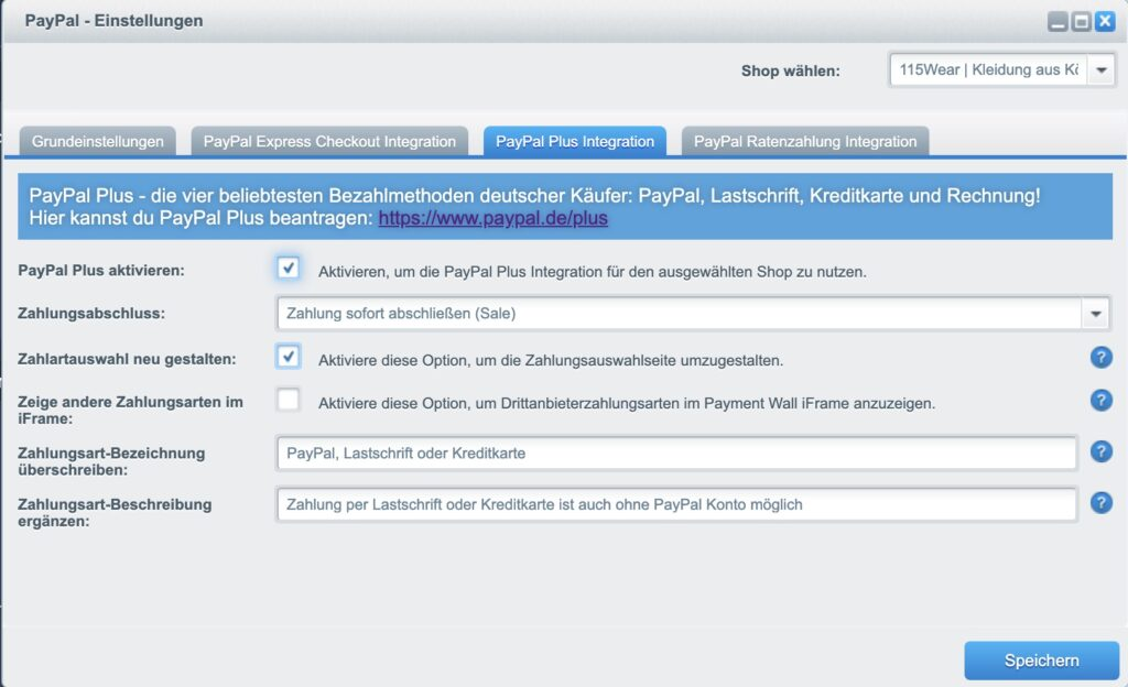 Shopware Paypal Plugin - PLUS Integration
