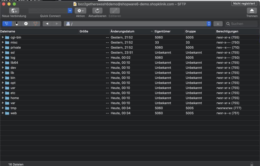 Shopware 6 Installation - Cyberduck Verzeichnisse