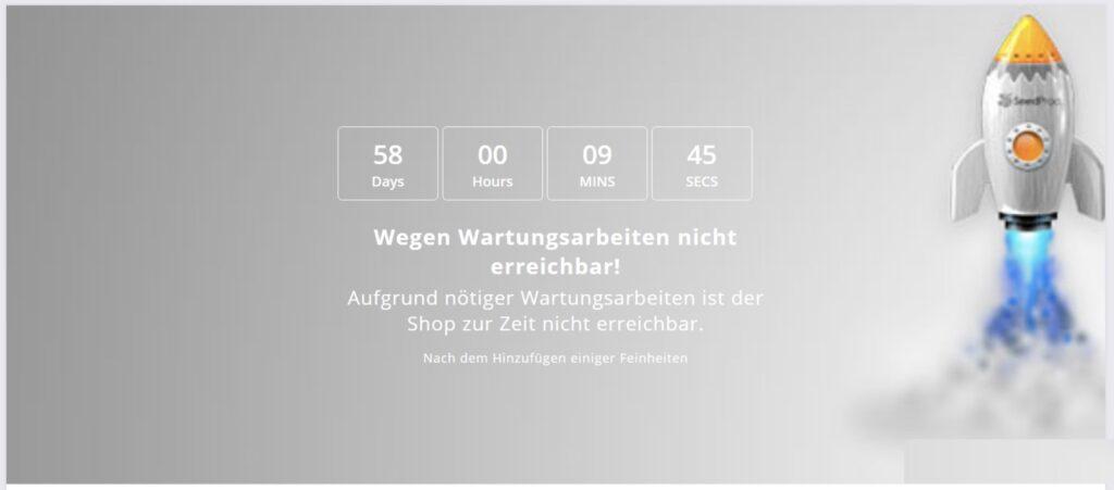 Shopware 5 Wartungsmodus Countdown