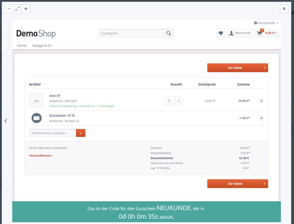 Shopware 5 - Rabattgutschein Countdown