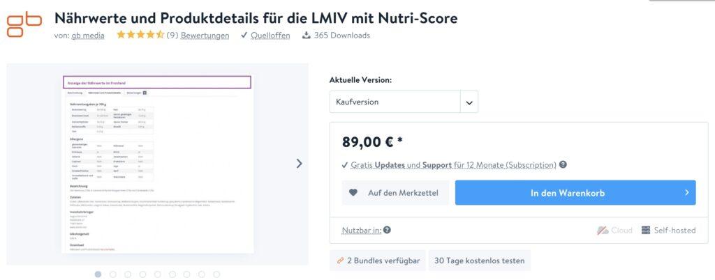 Naehrwert und Nutri Score - Shopware 5 - store gb media