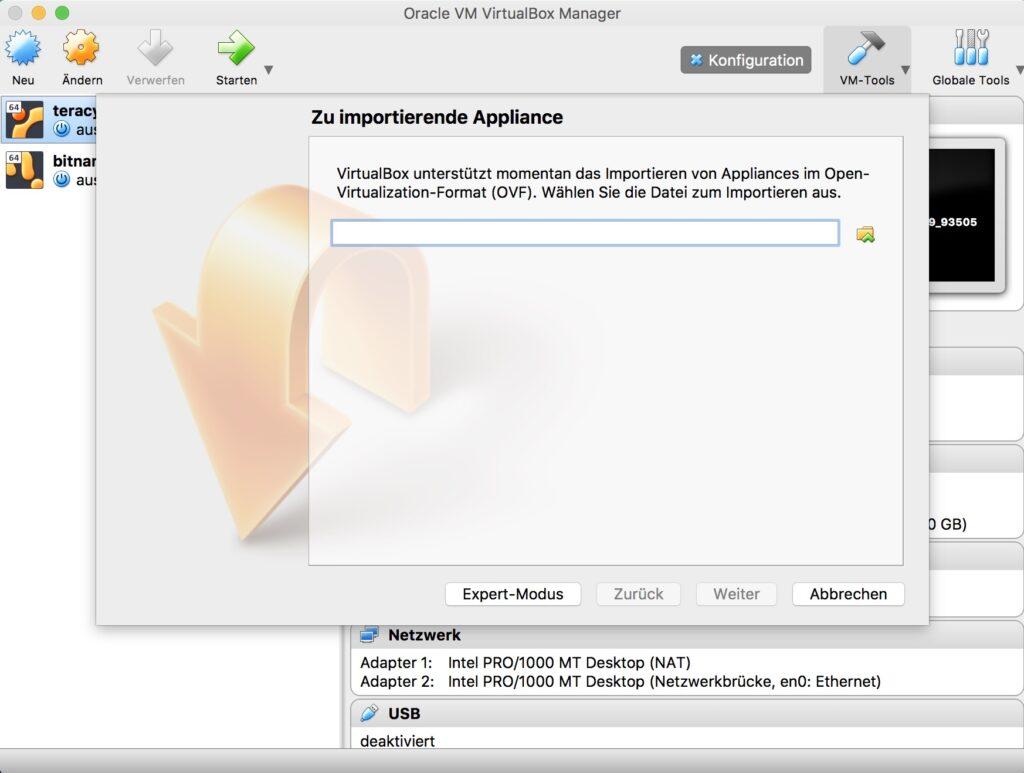 Shopware lokal mit VirtualBox Manager - Datei auswählen