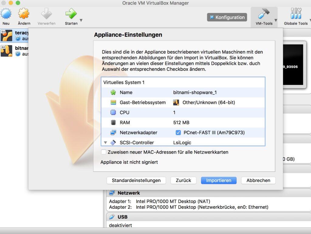 Shopware als lokale Maschine mit VirtualBox Manager - Projekt-Einstellungen