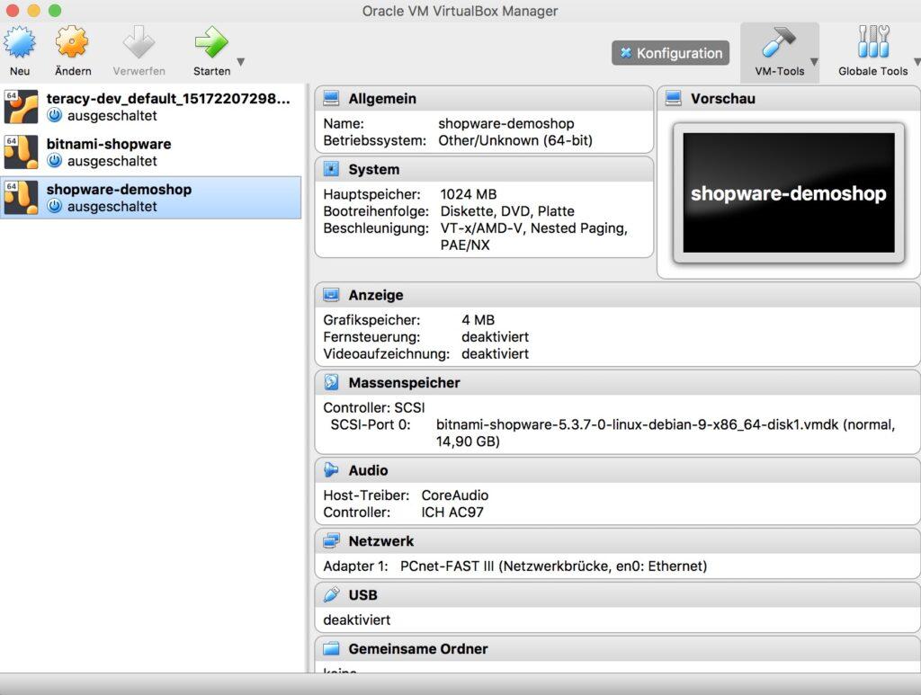 Shopware lokal mit VirtualBox Manager - VM starten