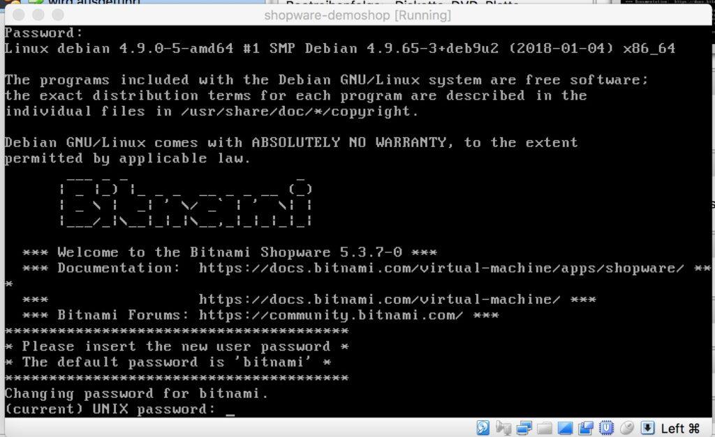 VirtualBox Manager - Passwort anpassen