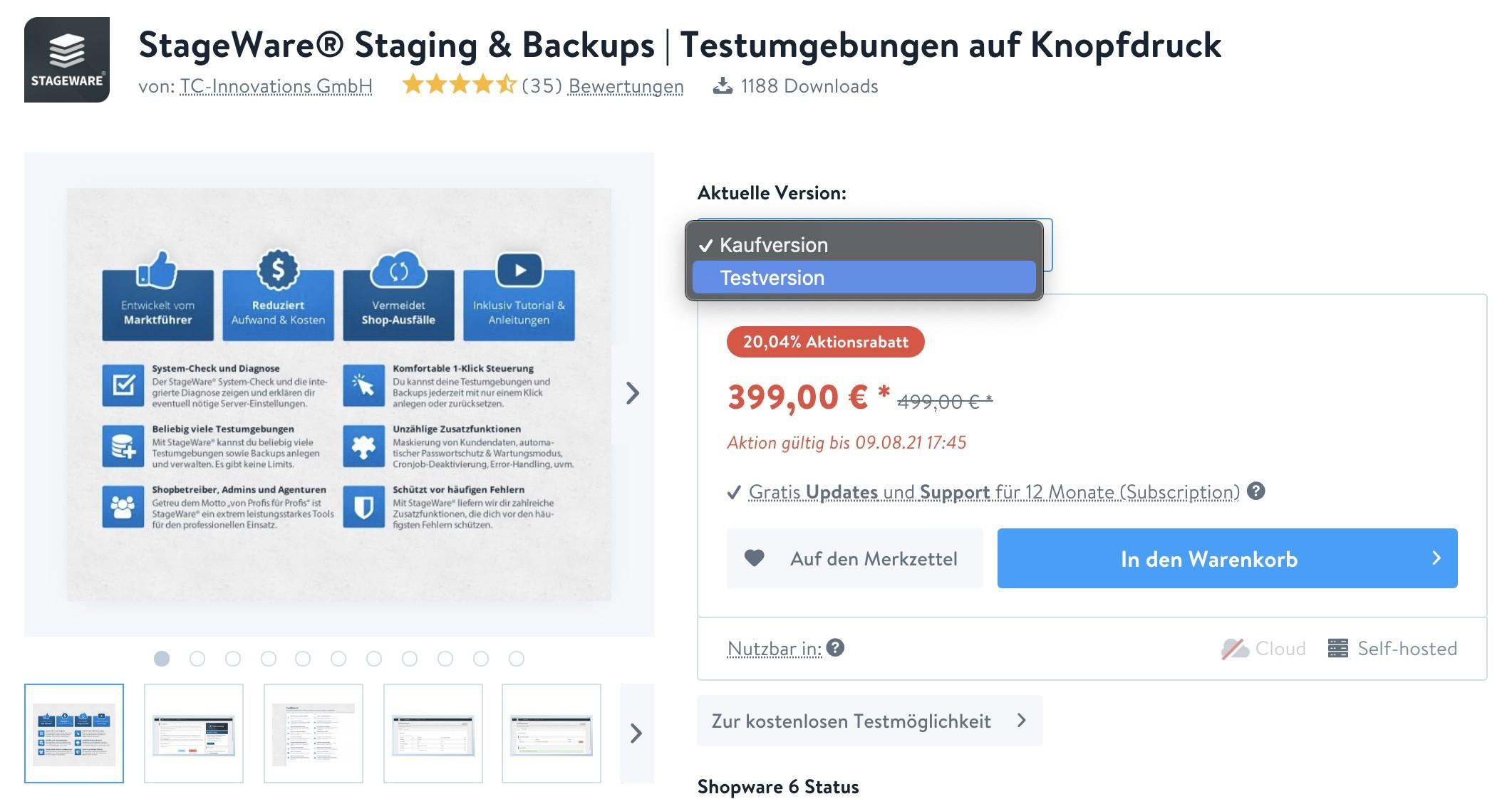 Shopware Staging - StageWare 1 - Testversion