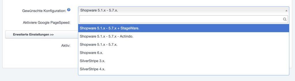 Shopware Staging - StageWare - Timme Einstellung