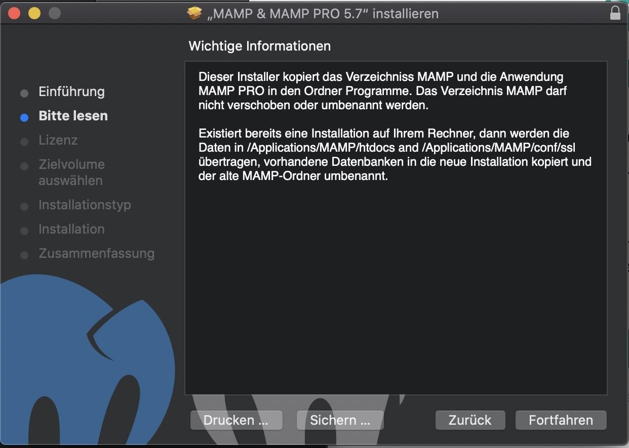 Shopware 6 lokal installieren Mac - MAMP Installation 2