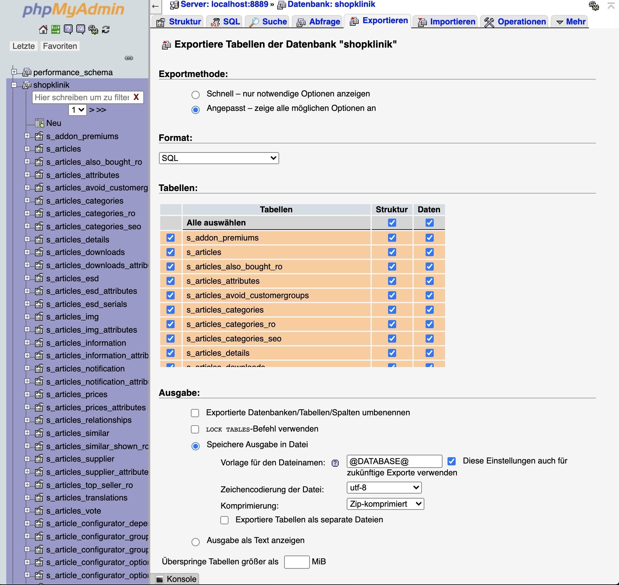 Shopware 6 lokal installieren Mac - Datenbank Backup