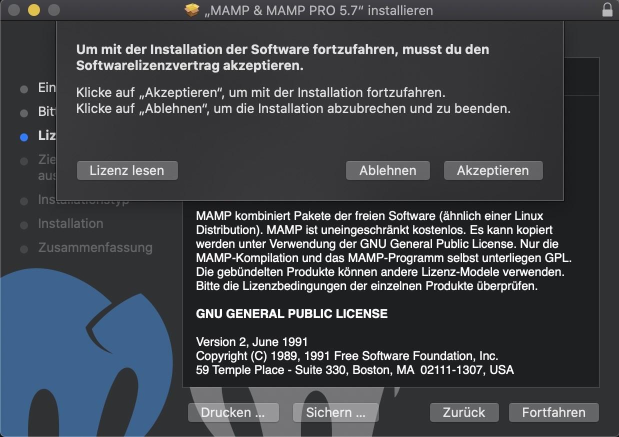 Shopware 6 lokal installieren Mac - MAMP Installation Lizenz