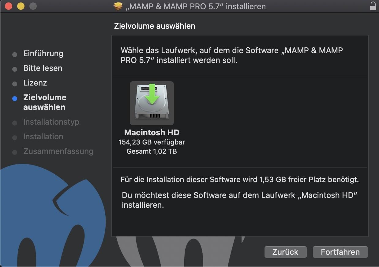 Shopware 6 lokal installieren Mac - MAMP Installation Ordner