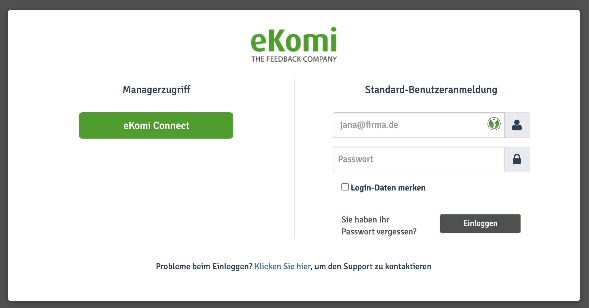 eKomi Badge einbinden - 1 - Manager Login