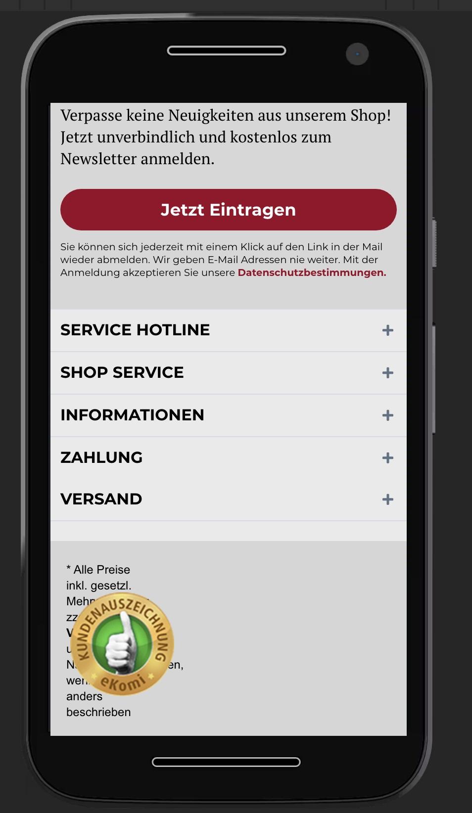 eKomi Badge einbinden - 11 - Widget 2 - Smartphone drin
