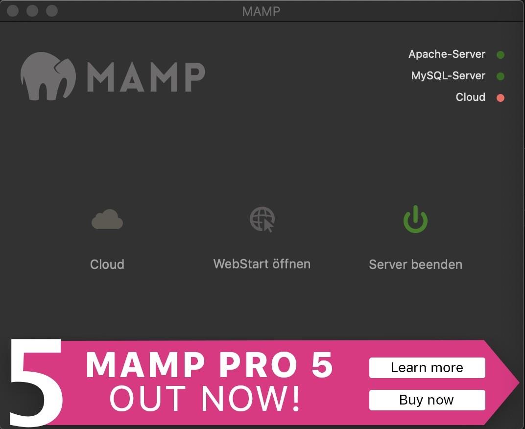 Shopware 6 lokal installieren Mac - MAMP starten