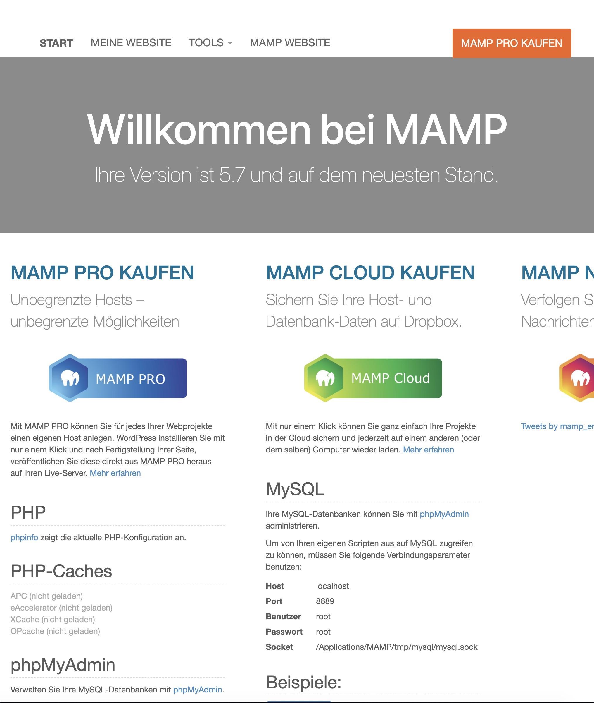 Shopware 6 lokal installieren Mac - MAMP Startseite