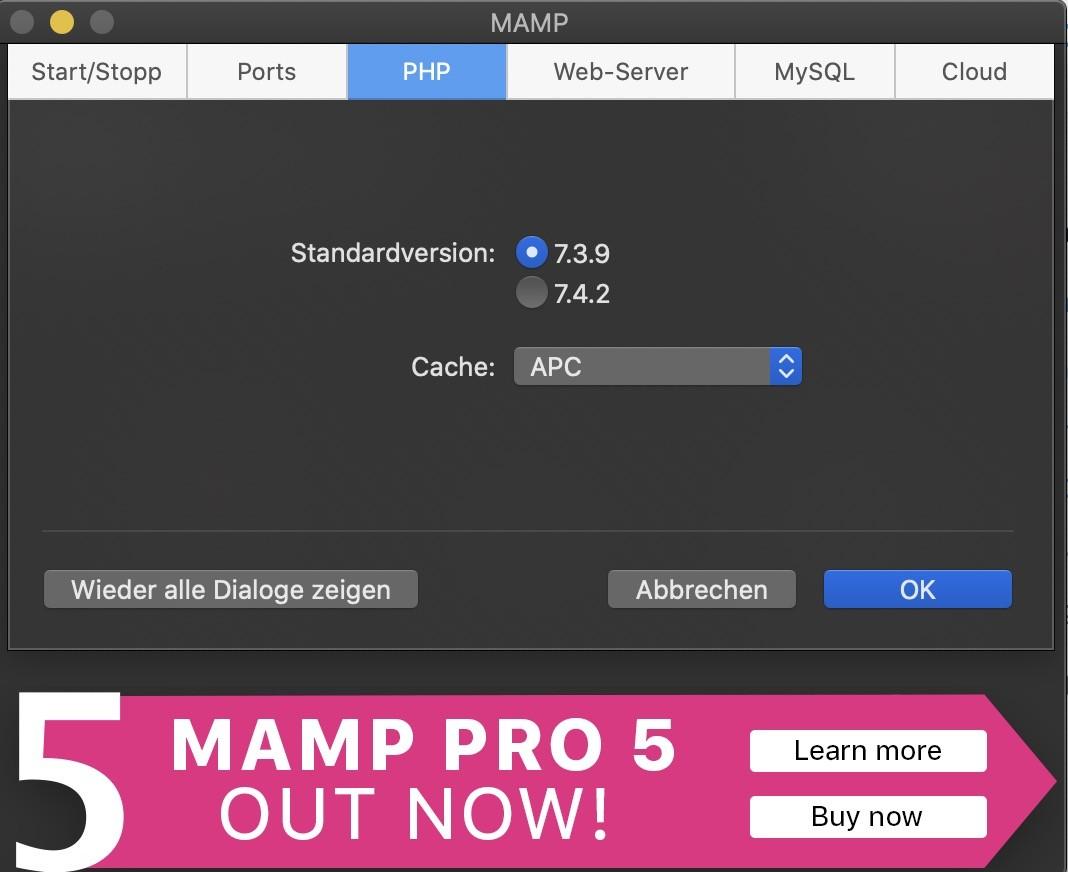 Shopware 6 lokal installieren Mac - PHP und Cache