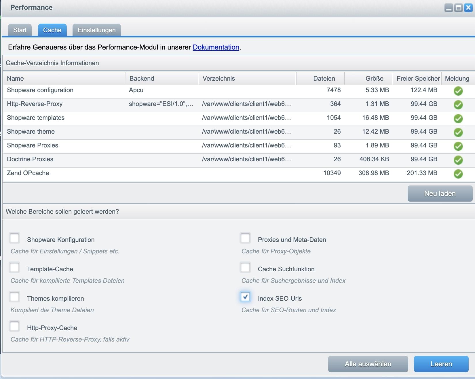 SEO und Social Marketing Automatisierung für Shopware 6 - URL Cache löschen