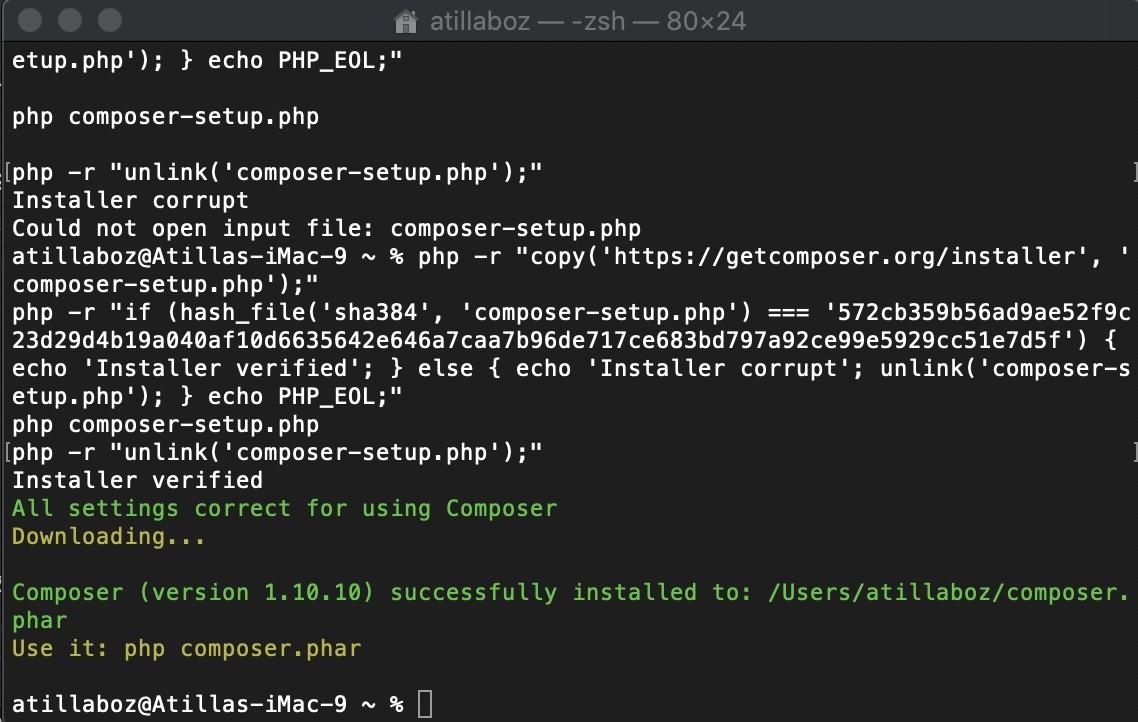 Shopware 6 lokal installieren Mac - Composer 2